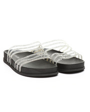 Footwear - Transparent Rhinestone Double Band Open Toe Slide Sandals-2373714