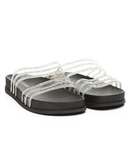 Fashion Lab - Transparent Rhinestone Double Band Open Toe Slide Sandals