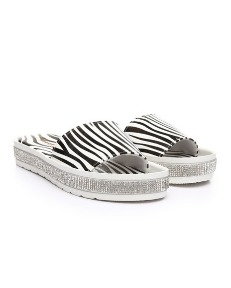 Fashion Lab - Zebra Rhinestone-Accent Temple Slide Sandals