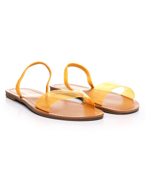 Fashion Lab - Transparent Design Open Toe Flat Sandals