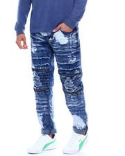 Jeans & Pants - moto zip knee stretch  jean w paint detail-2376972