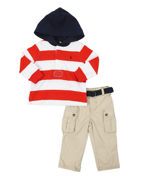 Polo Ralph Lauren - 2pc Cotton Rugby Hoodie & Cargo Pants Set (Infant)