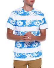 T-Shirts - Blue Floral Stripe Tee-2376299