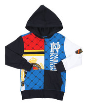 Boys - Color Block Printed Full Zip Hoodie (4-7)-2376316
