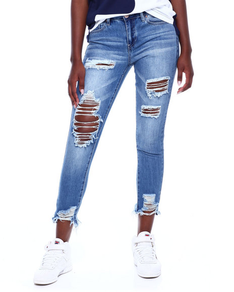 YMI Jeans - Dream Destructed Front Stretch Back Raw Edge Skinny Jean