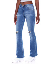Jeans - Ripped Knee Raw Edge Flare Leg Jean-2376456
