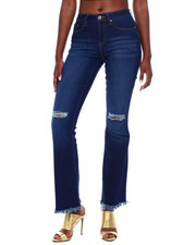 Jeans - Ripped Knee Raw Edge Flare Leg Jean-2376443