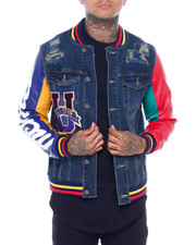 SMOKE RISE - Varsity Denim Jacket-2377853