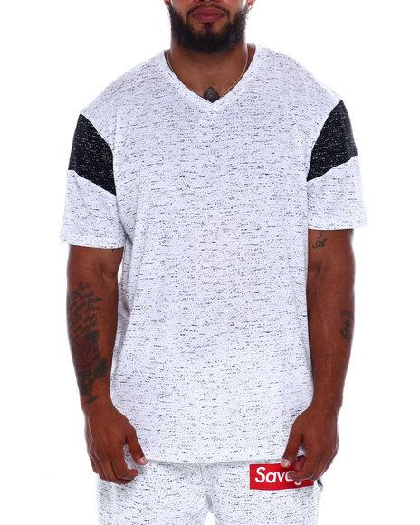 Brooklyn Cloth - Space Dye Shoulder Block V Neck S/S Tee (B&T)