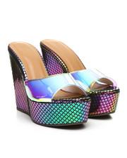 Fashion Lab - Clear Strap Wood Wedge Sandals-2378218