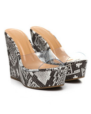 Women - Clear Strap Wood Wedge Sandals-2378235