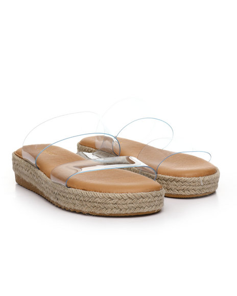 Fashion Lab - Double Strap Espadrille Slide Sandals