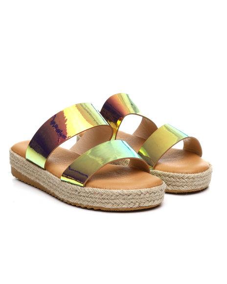 Fashion Lab - Double Strap Espadrille Slide Sandals