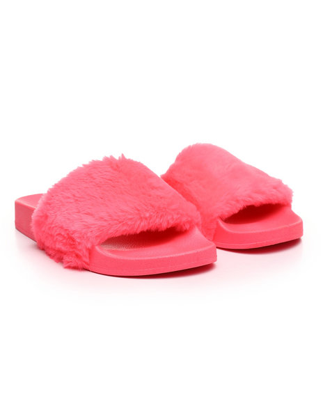 Fashion Lab - Faux Fur Slide Sandals