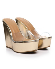 Women - Clear Strap Wood Wedge Sandals-2378194