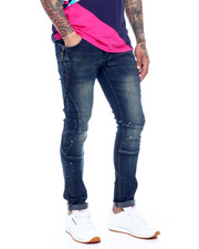 Men - Dk Blue Paint Splatter Zip Detail Jean-2378788