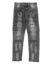 Jeans - Washed Rip & Repair Moto Stretch Denim Jeans (8-18)-2378483