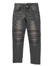 Jeans - Washed Rip & Repair Moto Stretch Denim Jeans (8-18)-2378494