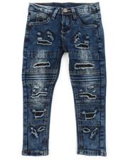 Jeans - Washed Rip & Repair Moto Stretch Denim Jeans (2T-4T)-2378459