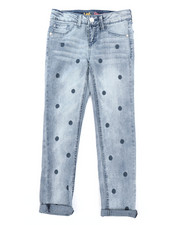 Girls - Polka Dot Embroidery Convertible Skinny Jeans (7-14)-2378630
