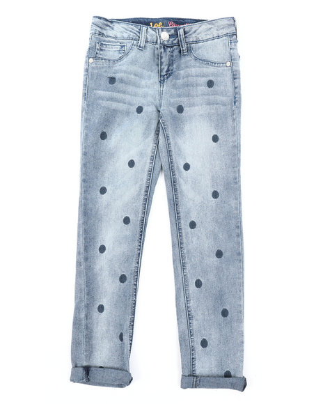 Lee - Polka Dot Embroidery Convertible Skinny Jeans (7-14)