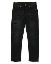 Bottoms - Washed Rip & Repair Moto Stretch Denim Jeans (8-18)-2378171
