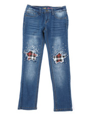 Girls - Plaid Star Knees Skinny Jeans (7-14)-2378443