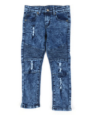 Sizes 4-7x - Kids - Washed Rip And Tear Moto Denim Jeans (4-7)-2378463