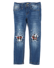 Girls - Plaid Star Knees Skinny Jeans (4-6X)-2378152