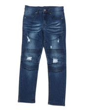 Bottoms - Washed Rip & Repair Moto Stretch Denim Jeans (8-18)-2378179