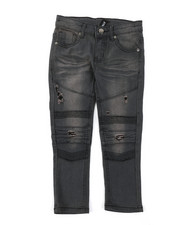 Boys - Washed Rip & Repair Moto Stretch Denim Jeans (4-7)-2378479