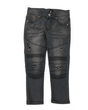 Arcade Styles - Washed Rip & Repair Moto Stretch Denim Jeans (4-7)-2378479