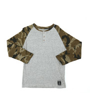 Tops - Long Sleeve Camo Raglan Henley (8-18)-2378574