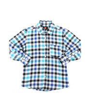 Tops - Yarn Dyed Plaid Woven Shirt (8-18)-2378641