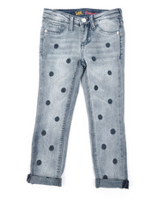Girls - Polka Dot Embroidery Convertible Skinny Jeans (4-6X)-2379202
