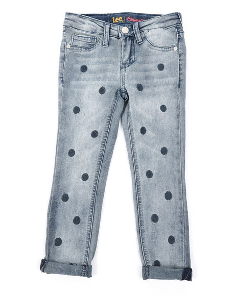 Lee - Polka Dot Embroidery Convertible Skinny Jeans (4-6X)
