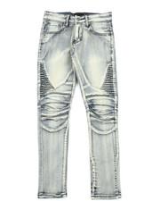 Boys - Side Moto Pleated Knee Jeans (8-20)-2379569