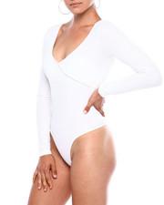 Bodysuits - L/S Rib Surplice Slip On Thong Bodysuit-2379727