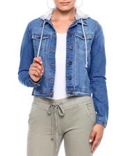 Outerwear - Denim Trucker Jacket W/Removable Hood-2379071