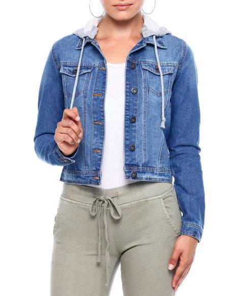 Fashion Lab - Denim Trucker Jacket W/Removable Hood