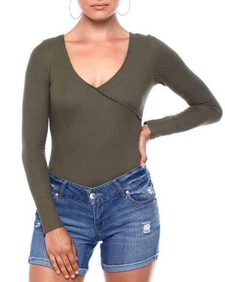 Golden Touch - L/S Rib Surplice Slip On Thong Bodysuit