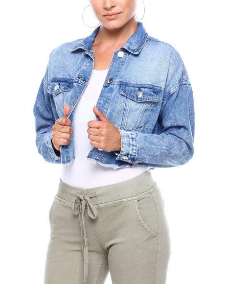 Fashion Lab - Cinched Back Cropped Denim Jacket