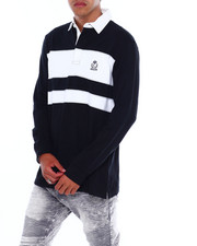 Chaps - CREST W CHEST STRIPE LS RUGBY-2380086