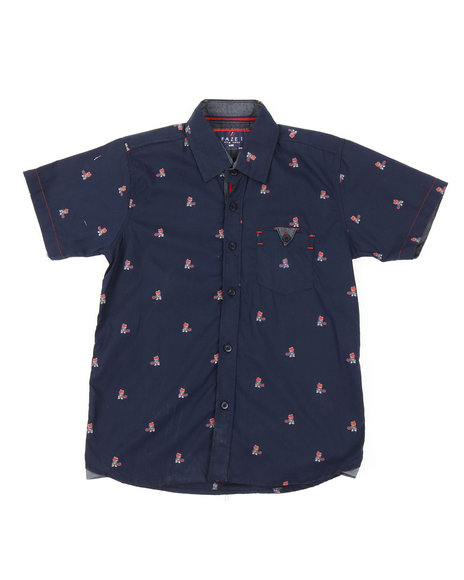 Arcade Styles - Tennis Teddy Bear All Over Print Woven Shirt (8-18)