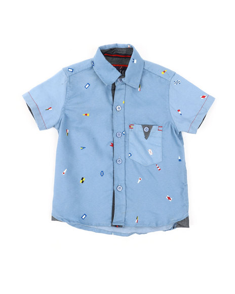 Arcade Styles - Chambray Nautical Flags All Over Print Woven Shirt (2T-4T)