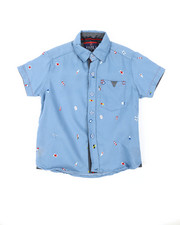 Sizes 4-7x - Kids - Chambray Nautical Flags All Over Print Woven Shirt (4-7)-2380337