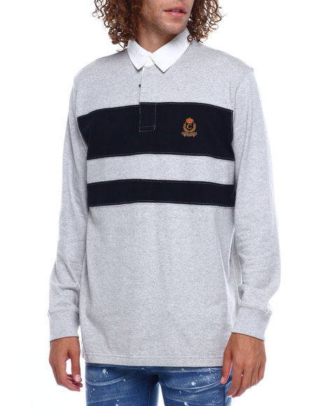 Chaps - CREST W CHEST STRIPE LS RUGBY