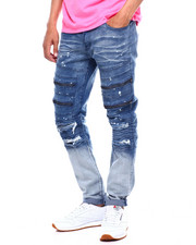 Jeans & Pants - Zipper and Ripped Knee Moto Jean-2380718