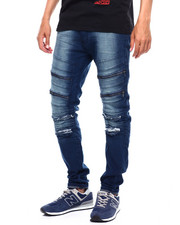 Jeans & Pants - Zipper and Ripped Knee Moto Jean-2380707