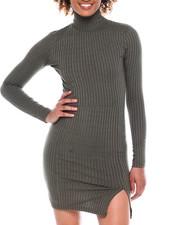 Dresses - L/S Rib Mock NK Bodycon Dress W/Side Frt Slit-2381059